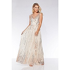 Quiz - Champagne woven sequin flare skirt maxi dress