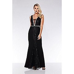 Quiz - Black embroidered fishtail maxi dress