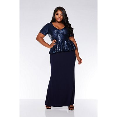 3ffc84bf224d Quiz - Curve navy sequin peplum maxi dress