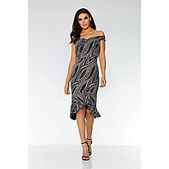 Quiz - Silver glitter bardot midi dress