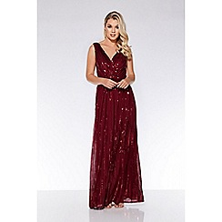 Quiz - Wine woven sequin flare skirt maxi dress