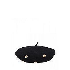 Quiz - Black button knit beret