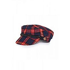 Quiz - Red check baker boy hat