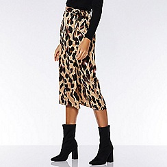Quiz - TOWIE stone and black leopard print wrap skirt