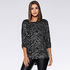 Quiz - Black and silver glitter batwing top