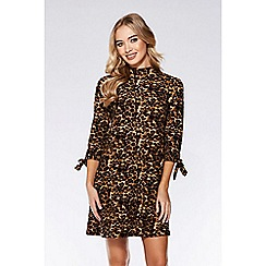 Quiz - Brown and black leopard print tunic dress