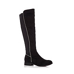 Quiz - Black stud faux suede knee high boots