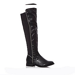 Quiz - Black stud faux leather knee high boots