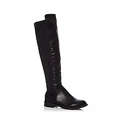 Quiz - Black faux leather diamante knee high boots