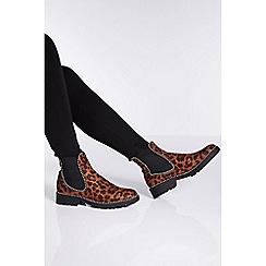 Quiz - Leopard print stud ankle boots