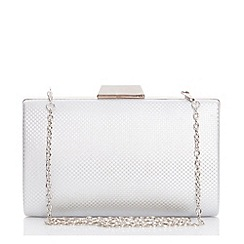Quiz - Silver Shimmer Weave Box Clutch