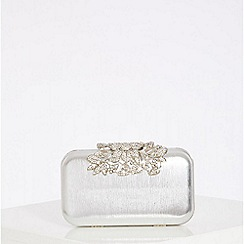 Quiz - Silver Ornate Clip Box Clutch
