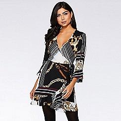 Quiz - Cream and black scarf print wrap dress