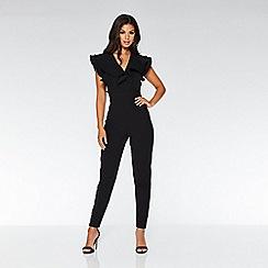 Quiz - Black double frill v front jumpsuit