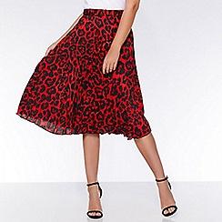 Quiz - Red and black leopard print midi skirt