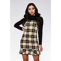 Quiz - Mustard and black check frill pinafore