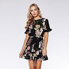 Quiz - Black floral print frill dress