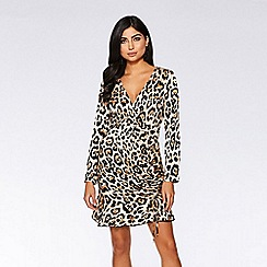 Quiz - Stone and black satin leopard print dress