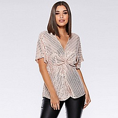 Quiz - Nude and silver sequin knot front batwing top