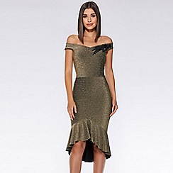 Quiz - Gold glitter bardot dip hem dress