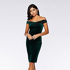 Quiz - Green and black velvet midi dress