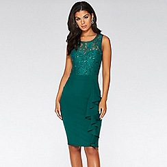 Quiz - Bottle green sequin lace frill dress