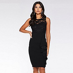 Quiz - Black sequin lace frill knee length dress