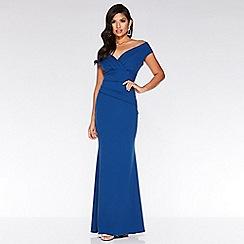 Quiz - Royal blue v neck wrap maxi dress