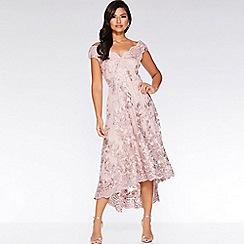 Quiz - Blush Pink Embroidered Bardot Dip Hem Dress