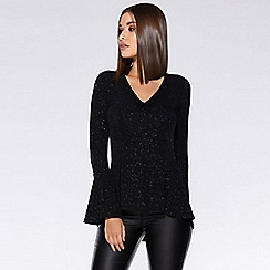 Quiz - Black glitter animal print peplum top
