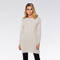 Quiz - Oatmeal knit cable design jumper dress
