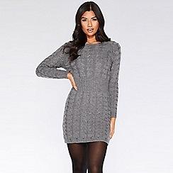 Quiz - Grey knit cable design jumper dress