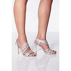 Quiz - Silver shimmer aysmmetrical heel sandals