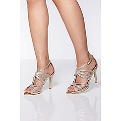 Quiz - Gold Shimmer Strappy Heel Sandals