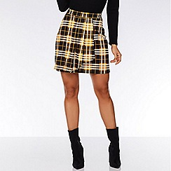Quiz - Mustard and black check pleated skirt
