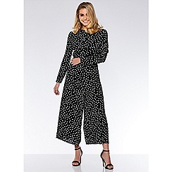 Quiz - Black and white polka dot front jumpsuit