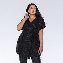 Quiz - Curve black glitter wrap tunic dress