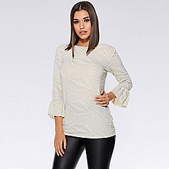 Quiz - Stone and silver glitter 3/4 sleeve frill top