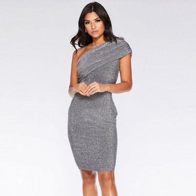 One Shoulder Silver Dress