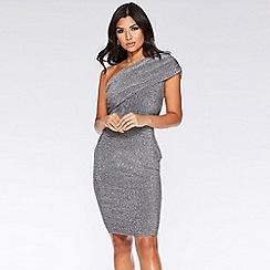 Quiz - Silver glitter one shoulder dress