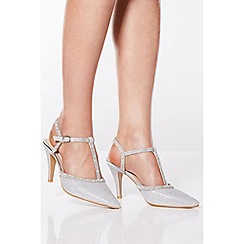 Quiz - Silver Shimmer Diamante Court Shoes