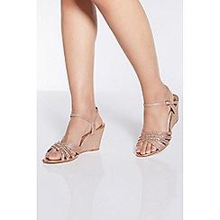 Quiz - Rose Gold Diamante Wedge Sandals