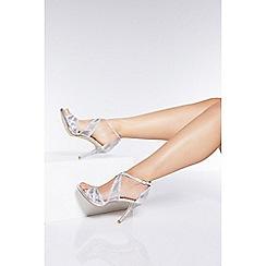 Quiz - Silver Diamante Mesh Strap Heel Sandals