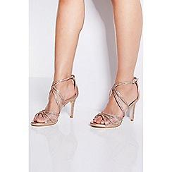 Quiz - Rose Gold Diamante Mesh Strap Heel Sandals