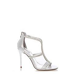 Quiz - Silver Diamante Strap Heel Sandals