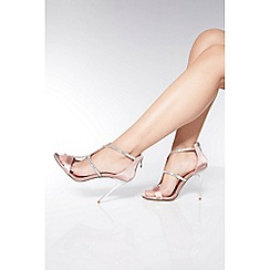 Quiz - Pink Diamante Strap Heel Sandals