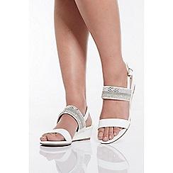 Quiz - White Mini Wedge Sandals