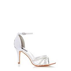 Quiz - Silver Diamante Heel Sandals