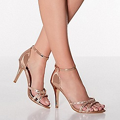 Quiz - Rose Gold Diamante Heel Sandals