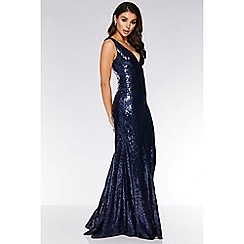 Quiz - Navy Sequin V Neck Fishtail Maxi Dress